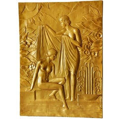 Large And Impressive Hand Crafted Art Deco 'Bathing Ladies' Wall Plaque
