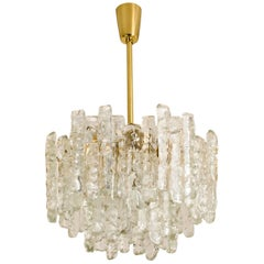 Modern Kalmar Brass Ice Glass Pedant Chandelier, 1970s