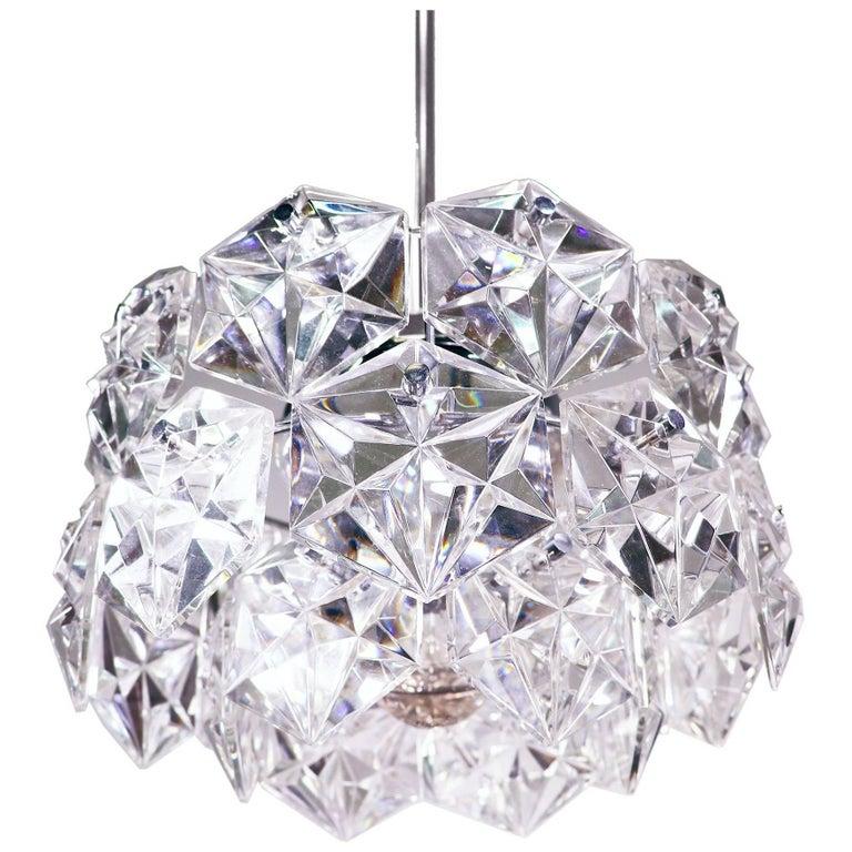 Chrome and Crystal Glass Chandelier by Kinkeldey