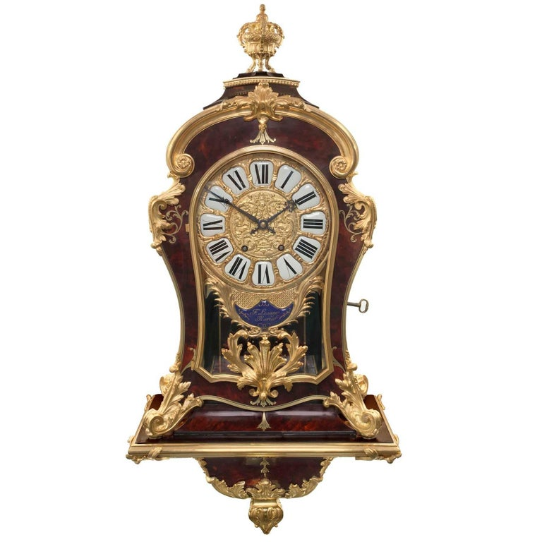 French 19th Century Louis XIV St. Cartel Clock Signed F. Lesage, Paris