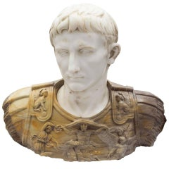 Italian 19th Century Carrara and Siena Marble Bust of Augustus of Prima Porta