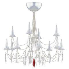 "Contemporary Crystal Steel Design ""Plume"" Twelve-Light Chandelier by Baccarat"