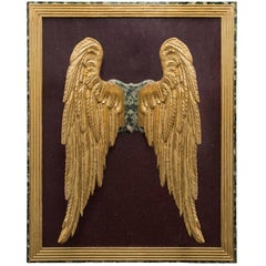 Pair of Italian 17th Century Giltwood Wings Set on a Faux Marble Background