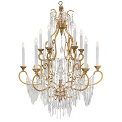 Italian 18th Century Tuscan Crystal, Gold Leaf and Giltwood Chandelier