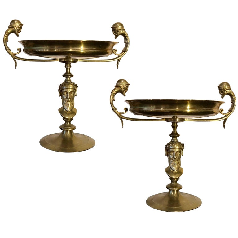 19th Century Neoclassic Golden Bronze French Footed Bowls, 1890s