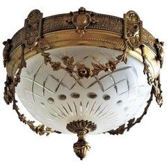 French Art Nouveau Period Bronze Cut Glass Ceiling Light Fixture, Flush Mount