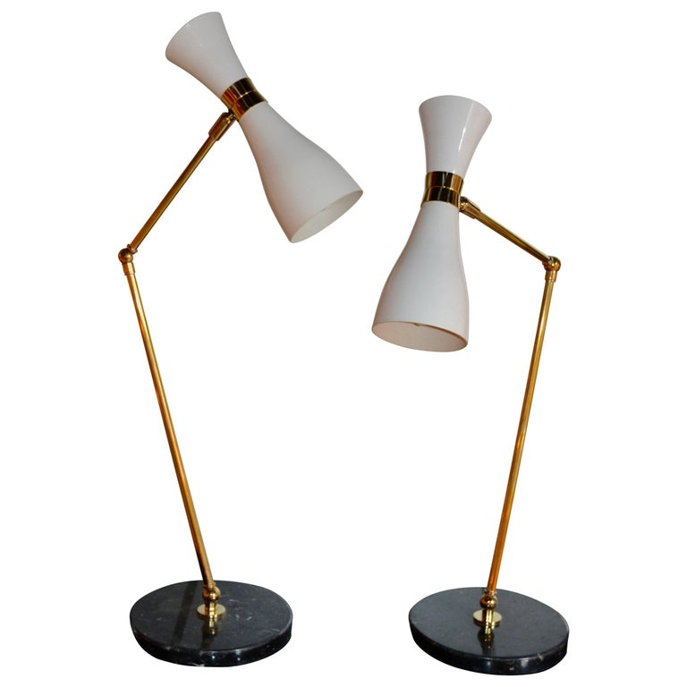 Pair of Italian White Table Lamps