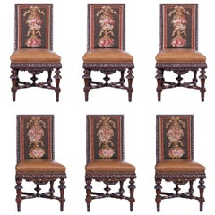 19th Century French Set of Six Walnut Chairs with Aubusson Tapestry and Leather