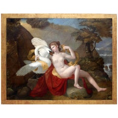 """French 19th Century Old Master School Oil on Canvas Titled """"Leda and The Swan"""""""