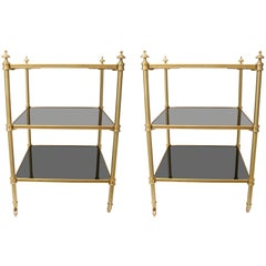 Pair of Stephane Boudin for Maison Jansen Side Tables in Brass and Black Lacquer