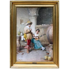 "Federico Ballesio Attributed 'Italian, 19th Century' Watercolor ""The Courting"""
