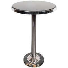Art Deco Machine Age Chrome, Marble and Vitrolite Drinks Table