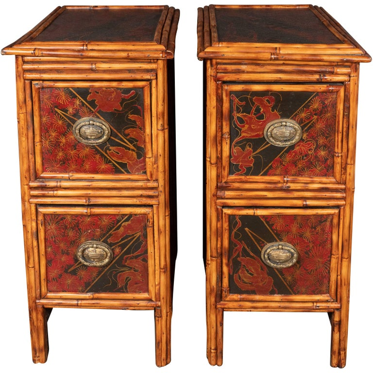 Pair of Early Art Deco Hand-Painted Bamboo and Cane Nightstands For Sale