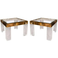 Pair of Square Brass, Lucite and Glass Side Tables