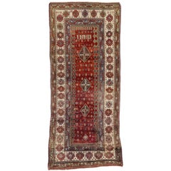 Antique Caucasian Tribal Kurd Runner, Hallway Runner