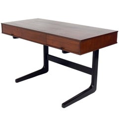 Clean Lined Midcentury Desk with Leather Pulls