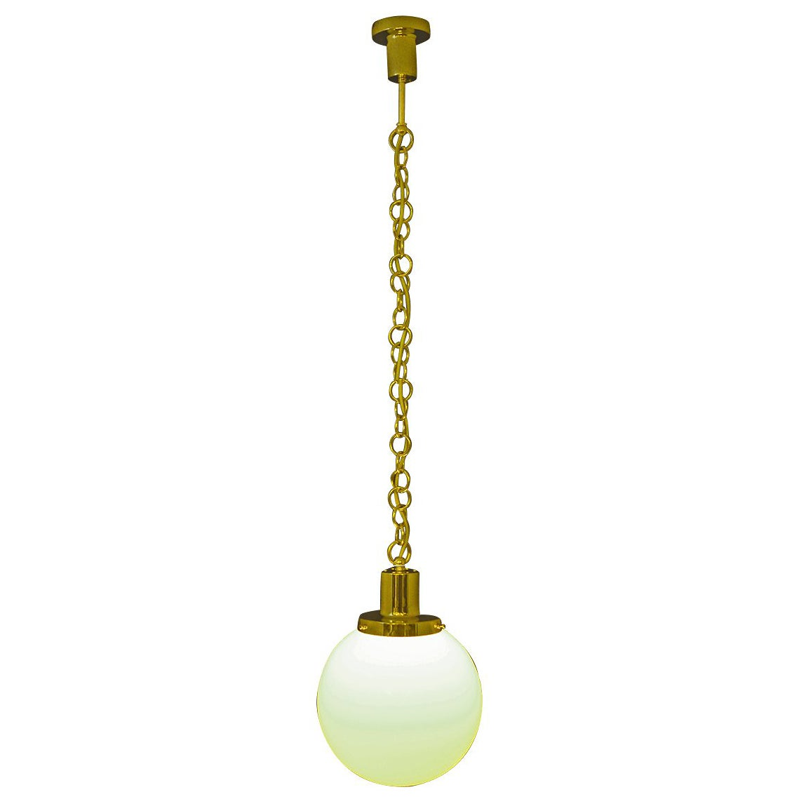 Adolf Loos Opaline Glass Brass Pendant Haus Mueller - Re Edition