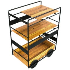 """Ambulante"" Bar Trolley Cart in Black Stainless Steel and Brazilian Hardwood"