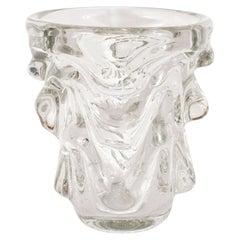 Mid-Century Modern Sculptural Handblown Glass Vase by Charles Schneider
