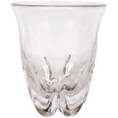 Sculptural Scandinavian Mid-Century Modern Handblown Translucent Glass Vase
