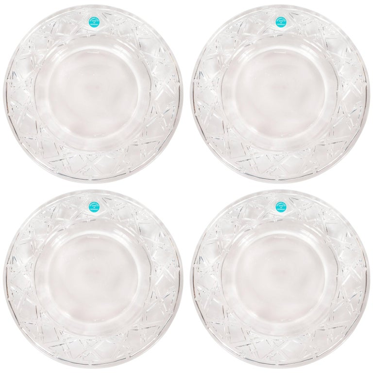 Set of Four Glass Basketweave Dessert/Hors D'oeuvres Plates by Tiffany & Co.