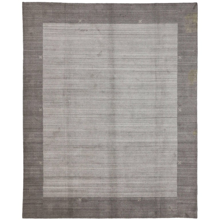 New Contemporary Gabbeh Gray Area Rug with Modern Style