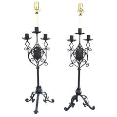 Late 19th-Early 20th Century Continental Iron Candelabras as Lamps