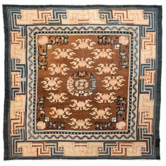 19th Century Chinese Rug, Central Rosette Design and Geometries on the Valance