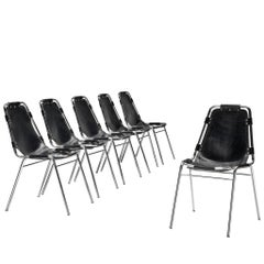 Set of Six Les Arcs Chairs Selected by Charlotte Perriand