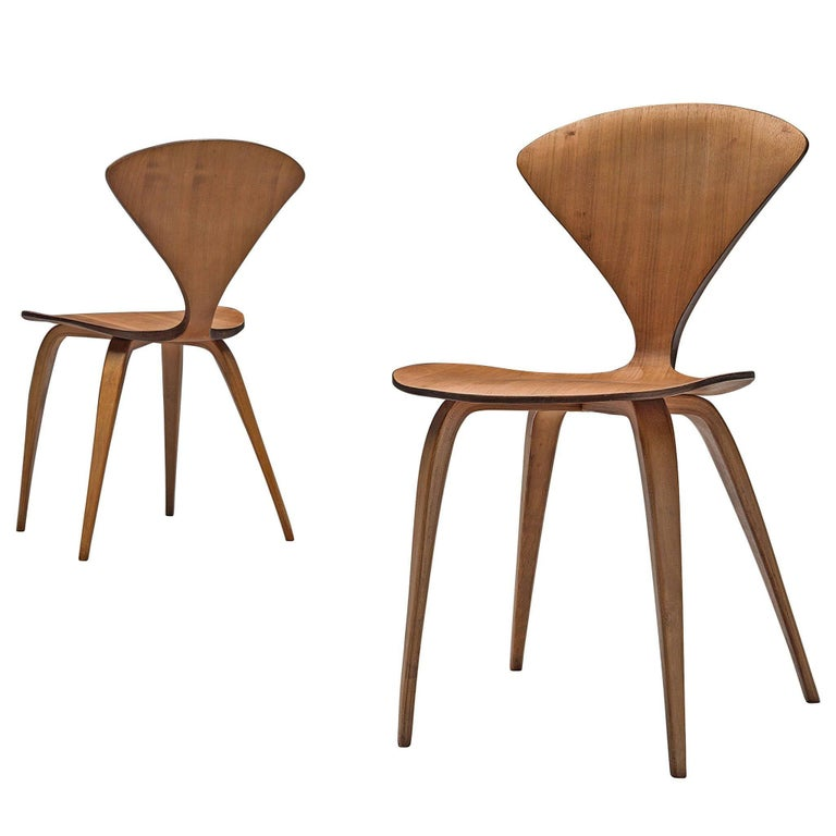 Norman Cherner Two Side Chairs in Walnut