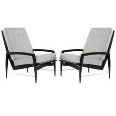 Scandinavian Modern Brass Rodded Lounge Chairs, 1950s