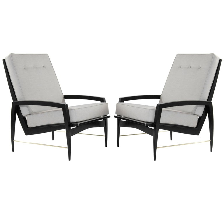 Scandinavian Modern Brass Rodded Lounge Chairs, 1950s For Sale