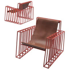 Postmodern Red Lounge Chairs in Cognac Leather