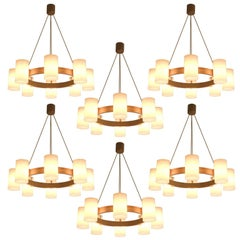 Large Set of Swedish Oak and Opaline Chandeliers