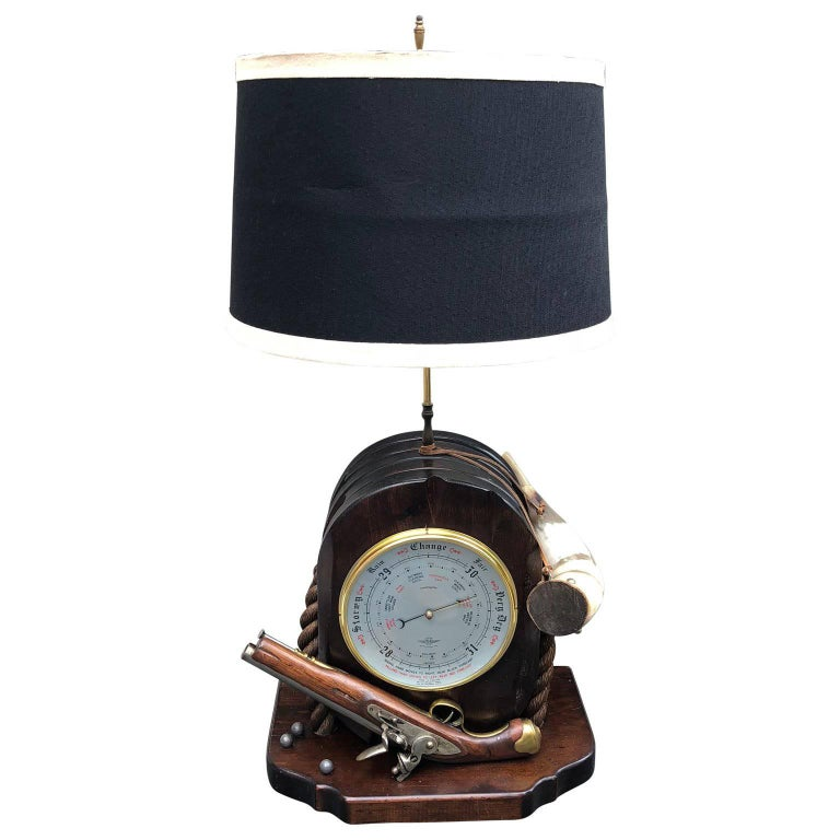 Large Naval Pulley Table Lamp with Flintlock Pistol, Barometer & Horn