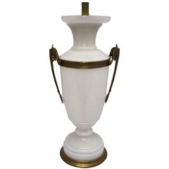 Early 20th Century White Opaline an Bronze Table Lamp