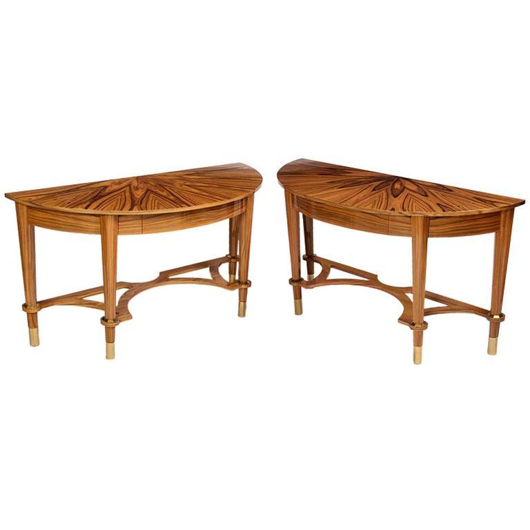Pair of Michael De Santis Brazilian Rosewood Demilune Consoles For Sale
