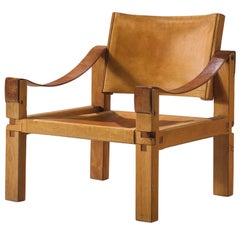 Pierre Chapo 'SX10' Grand Cognac Leather Easy Chair, 1960s