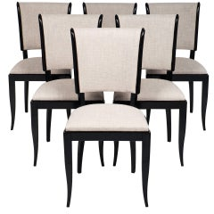 Set of Six French Vintage Art Deco Dining Chairs