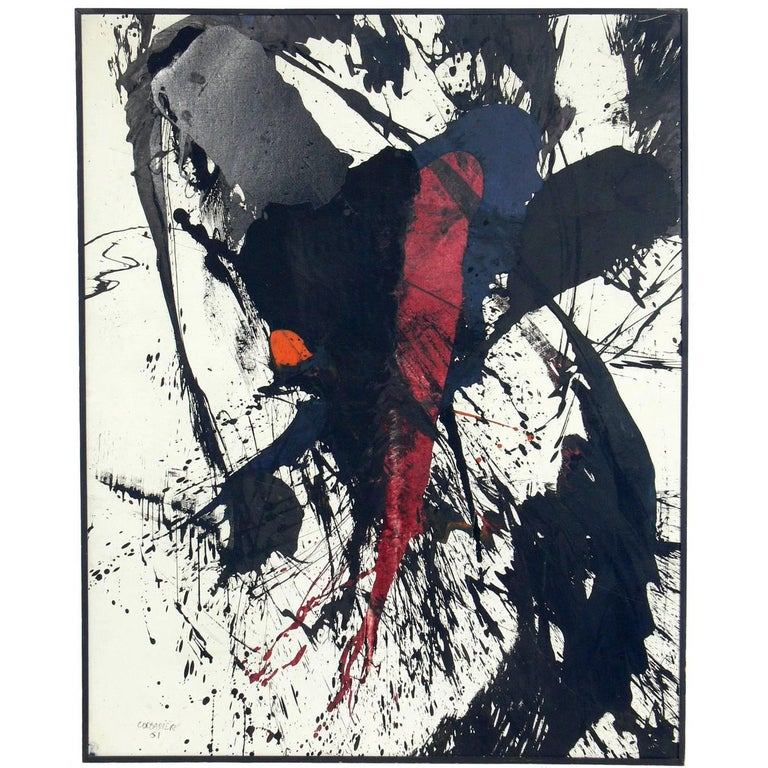 Large-Scale Abstract Painting by Yves Jean Corbassiere, 1961
