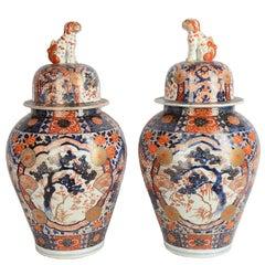 Large Pair of 19th Century Imari Vases