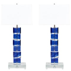 Cobalt Blue Murano Glass Lamps