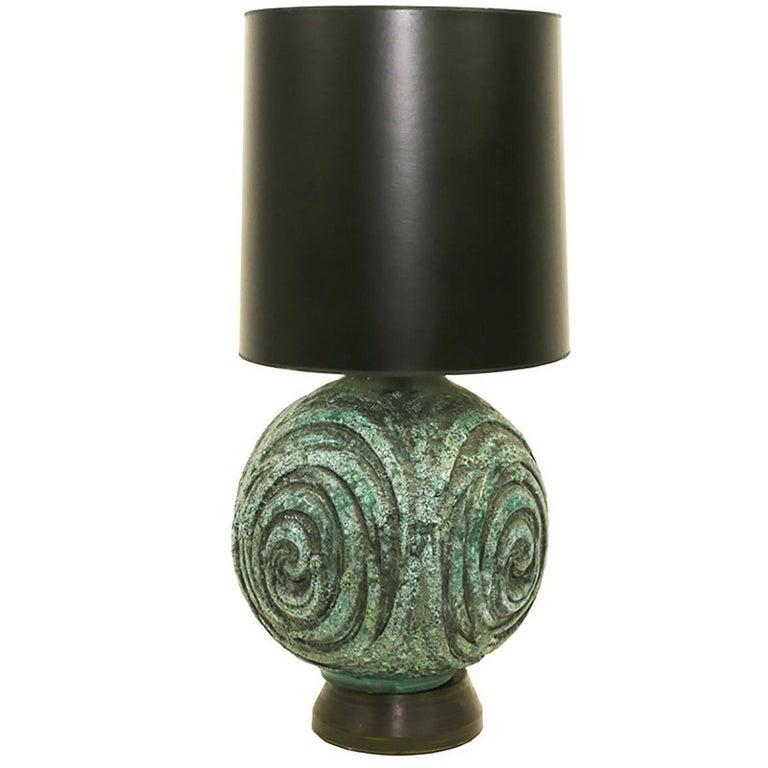 Large Marcello Fantoni Green Ceramic Table Lamp, circa 1950s