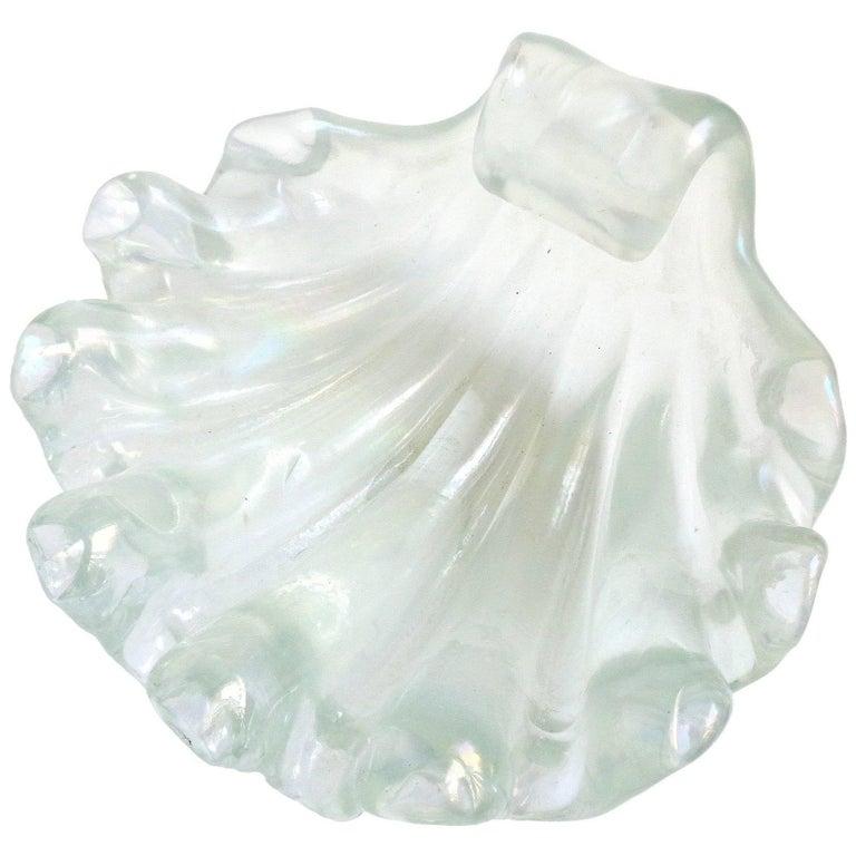 Ercole Barovier Murano Iridescent Italian Art Glass Conch Seashell Bowl