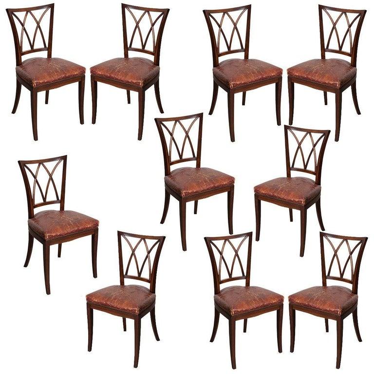 Set of Ten 19th Century English Mahogany Dining Chairs