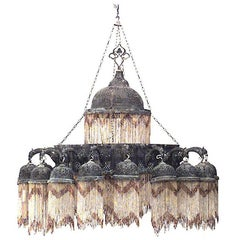 Middle Eastern Moorish Style '20th Century' Two-Tiered Chandelier