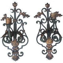 Pair of Late 19th-Early 20th Century Wrought Iron Sconces with Gilt Accent