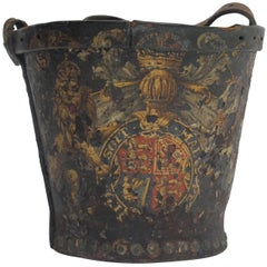 Georgian Black Leather Fire Bucket, English 19th Century