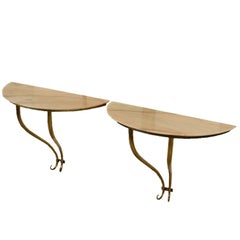 Pair of Console Tables Brass Marble Top Vintage, Italy, 1950s