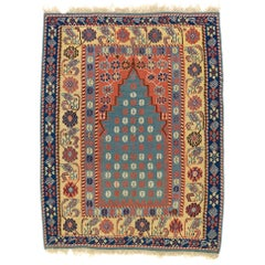 Mid 19th Century Blue and Green Turkish Erzurum Prayer Kilim Rug